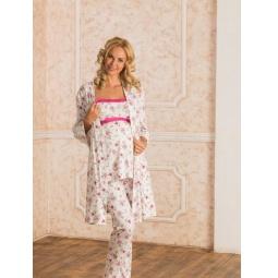 Купить Комплект: халат и пижама для беременных Nuova Vita 116.51. Цвет: экрю