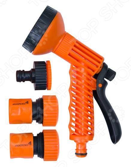 Пистолет-распылитель с аксессуарами Archimedes 90938Пистолеты для полива<br>Пистолет-распылитель с аксессуарами Archimedes 90938 станет прекрасным дополнением к набору вашего садового инвентаря. Он представляет собой устройство, используемое для направленного полива растений, цветов, а также для мытья садовых дорожек и террас. Пистолет оснащен функцией регулировки напора струи воды в шести режимах распыления. Также в набор входят аксессуары для полива: универсальный резьбовой штуцер, стандартный коннектор и коннектор с автостопом. Изделия выполнены из высококачественного ударопрочного пластика, практичны и удобны в использовании.<br>