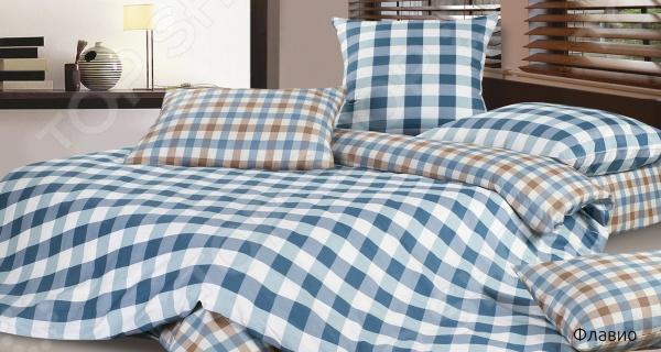 Комплект постельного белья Ecotex «Флавио». 1,5-спальный1,5-спальные<br>Комплект постельного белья Ecotex Флавио оптимальный выбор для создания уюта и комфорта! Человек треть своей жизни проводит в постели, и от ощущений, которые вы испытываете при прикосновении к простыням или наволочкам, многое зависит. Чтобы сон всегда был комфортным, а пробуждение приятным, мы предлагаем вам этот комплект постельного белья. Приятный цвет и высокое качество комплекта гарантирует, что атмосфера вашей спальни наполнится теплотой и уютом, а вы испытаете множество сладких мгновений спокойного сна. Оцените преимущества постельного белья:  Мягкая и гладкая поверхность ткани.  Легкость и двойное нитяное плетение.  Легко стирать и гладить, не беспокоясь о потере формы и цвета.<br>