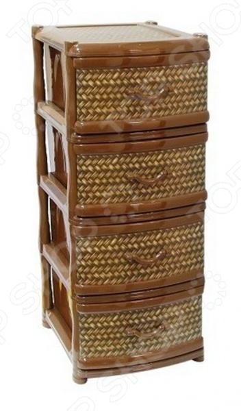 Комод 4-х секционный IDEA «Фиджи Деко. Ротанг»Комоды<br>Комод 4-х секционный IDEA Фиджи Деко. Ротанг отлично впишется в интерьер вашей гостиной или коридора. Он представляет собой удобный и практичный предмет мебели, используемый для хранения вещей, различных аксессуаров и принадлежностей для дома. Модель выполнена из высокопрочного пластика и снабжена четырьмя выдвижными ящиками.<br>