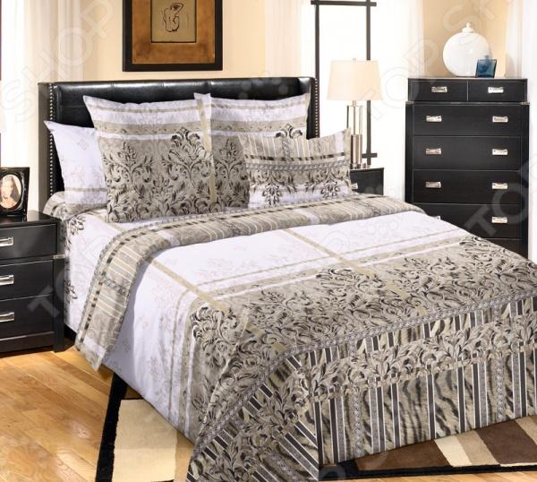 Комплект постельного белья Королевское Искушение «Баккарди». 1,5-спальный1,5-спальные<br>Комплект постельного белья Королевское Искушение Баккарди это незаменимый элемент вашей спальни. Человек треть своей жизни проводит в постели, и от ощущений, которые вы испытываете при прикосновении к простыням или наволочкам, многое зависит. Чтобы сон всегда был комфортным, а пробуждение приятным, мы предлагаем вам этот комплект постельного белья. Приятный цвет и высокое качество комплекта гарантирует, что атмосфера вашей спальни наполнится теплотой и уютом, а вы испытаете множество сладких мгновений спокойного сна. В качестве сырья для изготовления этого изделия использованы нити хлопка. Натуральное хлопковое волокно известно своей прочностью и легкостью в уходе. Волокна хлопка состоят из целлюлозы, которая отлично впитывает влагу. Хлопок дышит и согревает лучше, чем шелк и лен. Поэтому одежда из хлопка гарантирует владельцу непревзойденный комфорт, а постельное белье приятно на ощупь и способствует здоровому сну. Не забудем, что хлопок несъедобен для моли и не деформируется при стирке. За эти прекрасные качества он пользуется заслуженной популярностью у покупателей всего мира. Перкаль это тонкая хлопковая ткань высочайшего качества. Особый способ переплетения из нескрученной хлопковой пряжи придает перкалю достаточно прочности, чтобы не пропускать перья и пух, и в то же время оставаться исключительно нежным и мягким на ощупь. Благодаря уникальным потребительским свойствам, белье не теряет цвет и не садится во время стирки, а на ткани не образуются катышки . Внимание, рисунок на наволочках может отличаться от представленного на фотографии.<br>