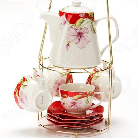 Чайный набор Loraine LR-24738Чайные и кофейные наборы<br>Набор чайный Loraine LR-24738 станет украшением вашего стола. Красивое оформление стола как праздничного, так и повседневного это целое искусство. Правильно подобранная посуда это залог успеха в этом деле. Такой набор придется по вкусу даже самым требовательным хозяйкам и придаст особый шарм и очарование сервируемому столу. В набор входят 4 чашки с блюдцами и заварочный чайник. Элегантный дизайн понравится всем, кто ценит утонченность и изысканность. Все предметы располагаются на удобной металлической подставке с ручкой.<br>