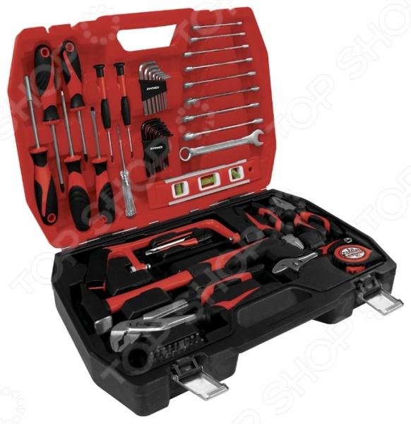 Набор инструмента Zipower PM 5117Наборы инструментов<br>Набор инструмента Zipower PM 5117 состоит из 61 предмета. Такой комплект настоящие профессионалы и домашние мастера оценят по достоинству, ведь его тщательно подобранный состав сможет удовлетворить любые нужды. Благодаря использованию особой технологии закаливания стали, инструменты отличаются невероятной прочностью и долговечностью. И, даже при длительном использовании, они сохраняют все необходимые свойства для выполнения своих функций. Все элементы набора сложены в прочный пластиковый кейс, что позволяет максимально удобно переносить и использовать их. В комплекте:  ключ гаечный комбинированный 6, 7, 8, 9,10, 11, 12, 13, 14 мм;  разводной гаечный ключ 150 мм;  плоскогубцы комбинированные 160 мм;  кусачки боковые слесарные 160 мм;  клещи переставные универсальные 250 мм;  мини-ножовка слесарная 160 мм;  молоток слесарный 300г;  уровень строительный 225 мм;  нож канцелярский со сменными секционными лезвиями 9 мм;  ключ угловой шестигранный H1,5; 2; 2,5; 3; 4; 5; 5,5; 6;  ключ угловой шестигранный T10; 15; 20; 25; 27; 30; 40;  бита отверточная 1 4 х25 мм;  рулетка 3м;  тестер электрика 100 250 В;  отвертка шлицевая SL5х75мм; SL6х100мм;  отвертка крестовая PH1х75мм; PH2х100мм.<br>