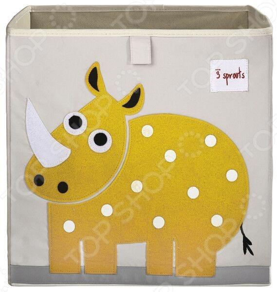 Коробка для хранения игрушек 3 Sprouts «Носорог»Хранение игрушек<br>Коробка для хранения игрушек 3 Sprouts Носорог это незаменимый атрибут детской комнаты. Каждый родитель знаком с ситуацией, когда вещи, белье или игрушки разбросаны по всему дому, а заставить малыша навести порядок не так-то просто. Однако с такой веселой коробкой процесс уборки превратится в интересную и увлекательную игру. Приручая ребенка к порядку сызмальства, вы сможете воспитать в нем такие качества, как аккуратность, собранность и чистоплотность. Стенки представленной модели усилены картоном, поэтому она всегда стоит ровно. Также стоит отметить, что изделие помещается практически во все стеллажи с квадратными отсеками.<br>