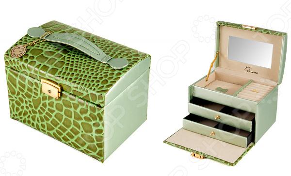 Шкатулка для ювелирных украшений Calvani 83386Шкатулки<br>Шкатулка Calvani 83386 это изящный, модный и очень яркий элемент интерьера. Ее можно использовать для хранения ювелирных украшений, бижутерии, драгоценностей или просто мелких вещей все нужное всегда будет под рукой. Оснащенную центральным замком, выдвижными ящичками и встроенным зеркалом модель, можно разместить на окне, журнальном столике или прикроватной тумбочке. Элегантная форма и яркая цветовая гамма изделия придадут любому помещению еще большей гармонии, эмоциональной наполненности и добавят нотку романтичности. Более того, дизайн шкатулки позволяет использовать ее как самостоятельный элемент декора. Шкатулка Calvani 83386 является прекрасным подарком для ваших любимых, родных и близких. Правила ухода: регулярно удалять пыль сухой, мягкой тканью.<br>