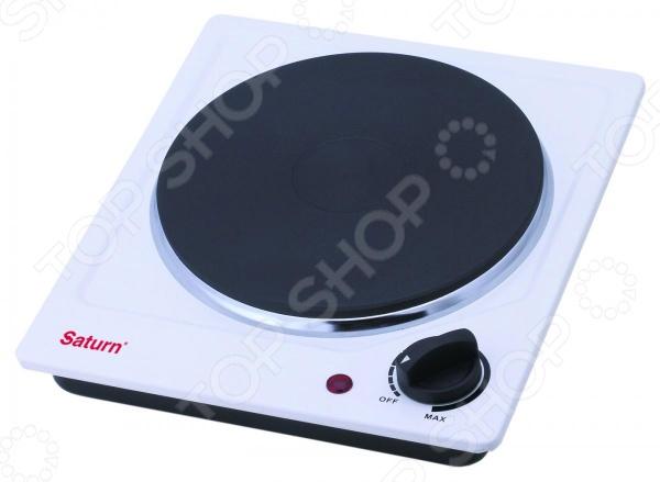Плита настольная Saturn ST-EC 0190Настольные плиты<br>Плита настольная Saturn ST-EC 0190 станет отличным дополнением к набору вашей бытовой техники для кухни. Модель практична и удобна в использовании, работает по принципу электрического нагрева варочной поверхности. Плита снабжена чугунной конфоркой, регулируемым термостатом, прорезиненными ножками и световой индикацией работы. Мощность плиты составляет 1500 Вт.<br>