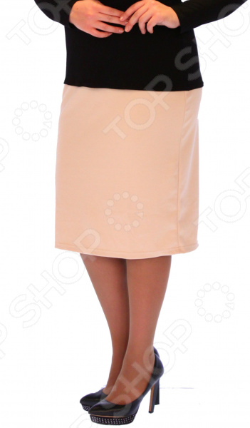 Юбка Матекс «Венера». Цвет: бежевыйЮбки<br>Юбка Венера прекрасная вещь для создания легкого женственного образа, которая идеально впишется в ваш гардероб. Удобная юбка сделана из легкой и приятной на ощупь ткани, поэтому прекрасно подойдет для повседневного использования.  Классическая юбка-карандаш.  Широкий пояс на резинке.  Есть небольшой разрез сзади.  Идеально подходит для любого типа фигуры и возраста. Материал 40 хлопок, 55 полиэстер, 5 лайкра отлично выдерживает многократные стирки, сохраняет форму и цвет.<br>