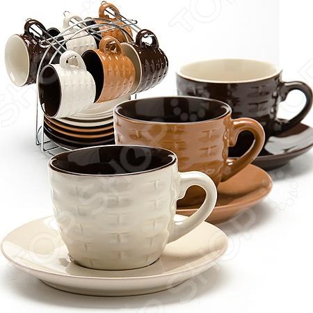 Набор кружек Loraine LR-24669Кружки. Чашки<br>Набор кружек Loraine LR-24669 набор кружек, которые отлично подойдут для использования дома и в офисе. Кружки изготовлены из высококачественной керамики и оформлены рисунком. Они выдерживают высокие температуры и их можно ставить в микроволновую печь. Объем каждой чашки 90 мл, как раз большая порция вашего любимого напитка. Если напиток в чашке остыл не отчаивайтесь, вы сможете подогреть его в микроволновой печи. Посуда и кухонные принадлежности компании Loraine это новое поколение кухонной посуды, которое создано ведущими мировыми специалистами с использованием самых современных технологий. Компания выпускает экологически чистые изделия с соблюдением международных норм безопасности, так что вы сможете использовать посуду и кухонные приборы в быту долгие годы без вреда для здоровья. В наборе 6 кружек с блюдцами и подставка.<br>