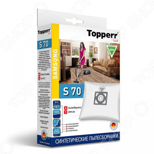Мешки для пыли Topperr S 70Аксессуары для пылесосов<br>Мешки для пыли Topperr S 70 незаменимые аксессуары для традиционных пылесосов с мешком для сбора пыли. Они изготовлены из синтетического материала MicrofiltPlus. Многослойный нетканый фильтрующий материал отличается особой прочностью, устойчив к воздействию влаги, хорошо задерживает частицы пыли вплоть до 99,5 . Эти качества обеспечивают устройству хорошую мощность всасывания на протяжении всего срока службы пылесборника. Кроме того, обеспечивается чистота внутренних поверхностей пылесоса, а также сводится к минимуму вероятность попадания пыли и аллергенных микроорганизмов в воздух. Мешки рассчитаны на одноразовое применение. В комплекте 4 пылесборника и 1 фильтр.<br>