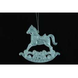 фото Елочное украшение Crystal Deco «Лошадка-каталка». Цвет: серебристый