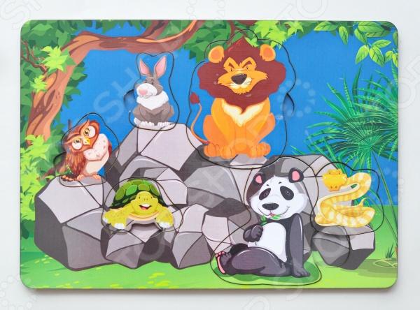 Игра развивающая Мастер игрушек «Рамка-вкладка: Звери на камнях»Другие обучающие и развивающие игры<br>Игра развивающая Мастер игрушек Рамка-вкладка: Звери на камнях увлекательная развивающая игра, которая ознакомит вашего малыша с различными животными. Яркий красочный дизайн понравится любому ребенку. Рамка-вкладка способствует целостному восприятию, расширяет представление ребенка об окружающем мире и развивает любознательность, учит сопоставлять предметы по форме и размеру. Рамка представляет собой картинку с вырезанными частями. Чтобы получить целое изображение, необходимо правильно подобрать недостающие кусочки.<br>