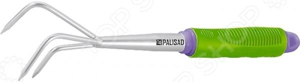 Рыхлитель PALISAD 63006Вилки. Разрыхлители<br>Рыхлитель PALISAD 63006 используется для смягчения структуры почвы и обогащения ее кислородом на небольших грядках, клумбах и участках. Конструкция изделия представлена рабочей частью, выполненной из прочной инструментальной стали марки Y8 и покрытой защитным эмалевым слоем против коррозии, и эргономичной рукояткой из пластика с резиновыми вставками. В торце рукоятки имеется винтовая заглушка, которая позволяет удлинить инструмент при помощи дополнительных штанг. Ширина рабочей части 75 мм, длина инструмента 340 мм. Количество зубьев 3. По окончании работы рекомендуется очистить инструмент от остатков грунта.<br>