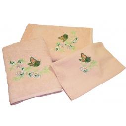 фото Комплект полотенец подарочный TAC Aurora. Цвет: персиковый