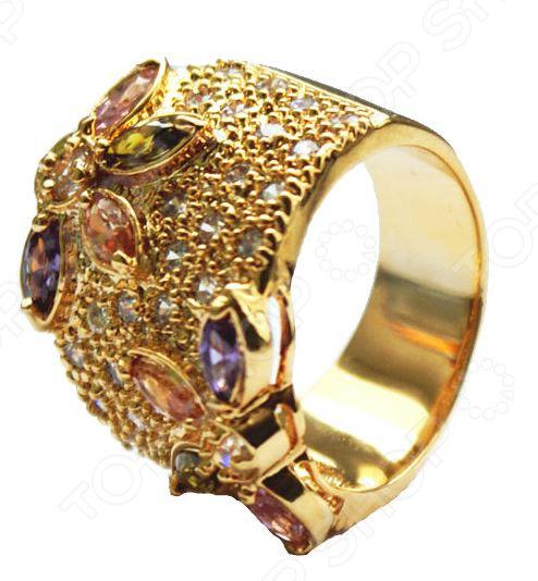 Кольцо «Флоретта»Кольца<br>Представляем стильную коллекцию бижутерии Флоретта! Эксклюзивные украшения Кольцо и серьги в ювелирном исполнении! Выполнены из латуни с покрытием 18-ти каратного желтого золота и натуральными фианитами! Подчеркнут ваш утонченный образ, привлекут восхищённые взгляды окружающих, превратят любой вечерний наряд в роскошное одеяние. И послужат лучшим подарком для родных и близких. Особое очарование украшениям придают необыкновенные цветы! Этот главный элемент присутствует и в кольце и в серьгах. На золотом поле, словно утренняя роса, переливаются фианитовые капельки, и нежные причудливые цветы, распустили свои разноцветные лепестки, радужно играя в лучах солнечного света. На кольце Флоретта 2 ассиметричных цветка. На серьгах по одному. В каждом по 4 лепестка. Все они разного цвета. Розовый, желтый, филетовый, зелёный. А серединка белая. Необычное цветовое решение. Украшения покрыты 18-ти каратным желтым золотом. Качественная работа зеркальная полировка. И снаружи и внутри. Украшения Флоретта качественной ручной работы. Кольцо прекрасно сочетается с серьгами из коллекции Флоретта. Камни фианиты Размер колец 17,18,19<br>