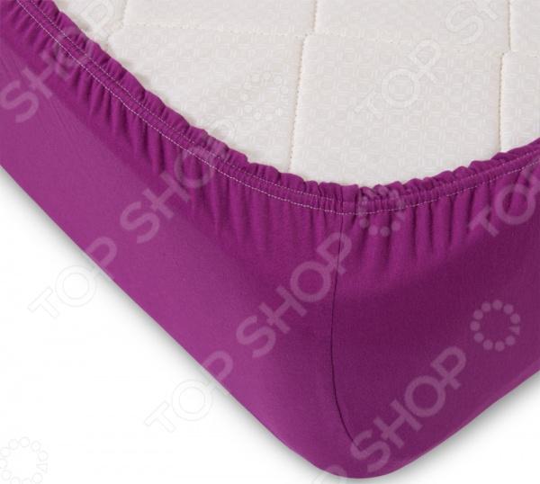 Простыня ТексДизайн на резинке. Цвет: фиолетовый