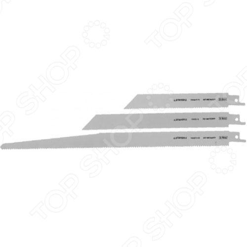 Набор полотен для сабельной электропилы Stayer Profi 159460-H3Набор полотен для сабельной электропилы Stayer Profi 159460-H3 сменные элементы для электрической ножовки. Полотна выполнены из высококачественных материалов и применяются для распила дерева, фанеры, пластика, ДСП и ДВП. Особенности:  Новейшая технология производства полотен.  Автоматическая заточка и шлифовка зубьев. В наборе 3 штуки.<br>