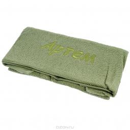 фото Полотенце подарочное с вышивкой TAC Артем. Цвет: зеленый