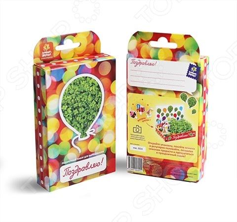 Набор подарочный для выращивания Happy Plant «Живая открытка: Поздравляю-Поздравляю!» наборы для выращивания happy plant подарочный набор живая открытка с любовью