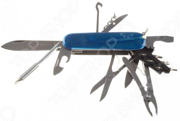 Нож складной многофункциональный Зубр «Эксперт» 47787Туристические и складные ножи<br>Нож складной многофункциональный Зубр Эксперт 47787 это современный, удобный и невероятно надежный мультитул. Модель предназначена для людей, которые ведут активный образ жизни. Поездка на рыбалку, выезд в лес на пикник или пешие походы в горы любое из этих мероприятий требует тщательной подготовки. Одним из самых необходимых аксессуаров для любителей экстремального отдыха является многофункциональный нож, ведь он объединяет в себе целый арсенал необходимых инструментов, которые не дадут вам попасть впросак и выручат в трудную минуту. Нож Зубр Эксперт 47787 оснащен набором из 17 функций:  нож;  малый нож;  открывалка для бутылок, совмещенная с отверткой SL;  открывалка для консервных банок, совмещенная с отверткой SL;  ножницы;  штопор;  битодержатель;  бита PZ0-PZ1;  бита PH1-SL3,5;  бита TX15-TX10;  бита TX9-TX8;  мини-плоскогубцы;  шило-развертка;  многофункциональный крюк;  кольцо для ключей;  пинцет;  зубочистка. Оптимальная комплектация и проверенное временем качество ножа Зубр Эксперт 47787, удовлетворят потребности туриста любого уровня, делая отдых максимально комфортным и безопасным.<br>