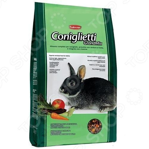 Корм для кроликов Padovan Grandmix ConigliettiКорм<br>Корм для кроликов Padovan Grandmix Coniglietti сбалансированная высококачественная смесь для ежедневного кормления питомца. Корм подходит также и для карликовых пород кроликов. Он обогащен витаминами и минералами, которые поддерживают красоту и здоровье шерсти, кожного покрова, помогают бороться со свободными радикалами и укрепляют иммунитет. В состав корма входит большое количество фруктов и овощей. Состав: подсолнечник 4,3 , кукуруза 17,7 , ячмень 6,2 , чечевица, морковь, яблоко, плоды рожкового дерева, зерна и субпродукты, сахар и сахарные субпродукты, семена масличных культур и их субпродукты, молочные продукты и минералы.<br>