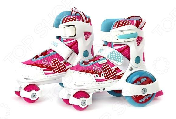 Роликовые коньки-квады Moby Kids «Сердце»Роликовые коньки для детей<br>Катание на роликах это не только весело, но и полезно для здоровья. По силе оздоровительного эффекта оно приравнивается к бегу и езде на велосипеде, способствует укреплению мышщ и повышению выносливости дыхательной и сердечно-сосудистой систем. Кроме того, ролики это еще и отличный способ быстро сжечь лишние калории. Роликовые коньки-квады Moby Kids Сердце отличный выбор для любителей активного образа жизни. Модель выполнена в соответствии с анатомическими особенностями ноги, практична и удобна в использовании. К основным преимуществам роликов можно отнести:  компенсацию роста ноги на 4 размера;  петлю для переноски;  наличие заднего тормоза;  двухступенчатую фиксацию ноги клипса Autolock и ремень на липучке ;  удобный раздвижной механизм;  мягкие ботинки с усилением в носочной и пяточной части;  поддержку голеностопа.<br>