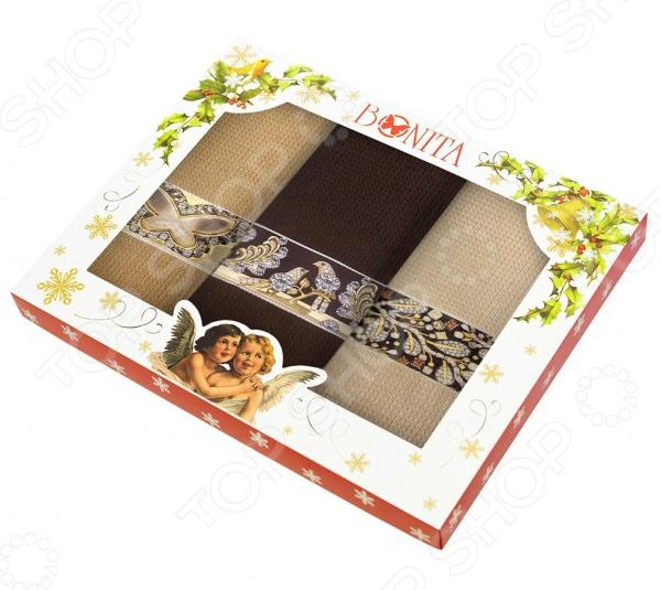 Комплект из 3-х полотенец подарочный BONITA «Драгоценности» комплект из 2 х фартуков bonita дочки матери