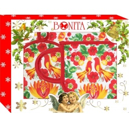 фото Комплект из 2-х прихваток и рукавицы подарочный BONITA «Чаепитие жар-птица»