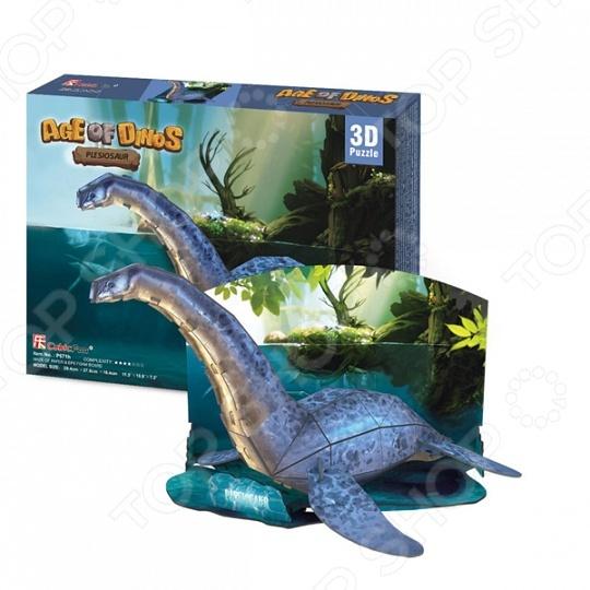 Пазл 3D CubicFun «Плезиозавр»Пазл 3D CubicFun Плезиозавр это уникальный трехмерный пазл. Он состоит из 38 деталей, соединив которые, можно собрать настоящего динозавра. Такой подарок обязательно понравится юному палеонтологу. В готовом виде динозавр достигает 29 сантиметров в длину и 18 в высоту. Собранная своими руками модель займет почетное место на полке в детской комнате.<br>