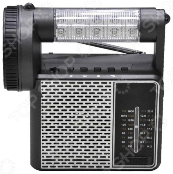 Радиоприемник СИГНАЛ Vikend PatriotРадиоприемники<br>Радиоприемник СИГНАЛ Vikend Patriot компактное переносное устройство с мощным динамиком. Радиоприемник оснащен аналоговым тюнером с возможностью приема расширенных УКB, CB, KB1 и KB2 диапазонов. Питание устройства осуществляется от 4 батареек типа AA или от сети аккумулятор 1400 мАч . Дополнительно имеется разъем USB, слот для подключения SD карты и встроенный плеер MP3 для воспроизведения файлов со сменных носителей. Корпус изготовлен из прочного пластика, оснащен 2-мя светодиодными фонарями по 1 и 6 Вт. Устройство оснащено телескопической антенной. Настройка частоты аналоговая. Напряжение питания 6В. Ручка-шнур поможет удобно переносить радиоприемник. Диапазон принимаемых частот:  УКВ 64-108 МГц;  СВ 530-1600 КГц;  КВ1 8,8-13,8 МГц;  КВ2 14,2-22 МГц.<br>