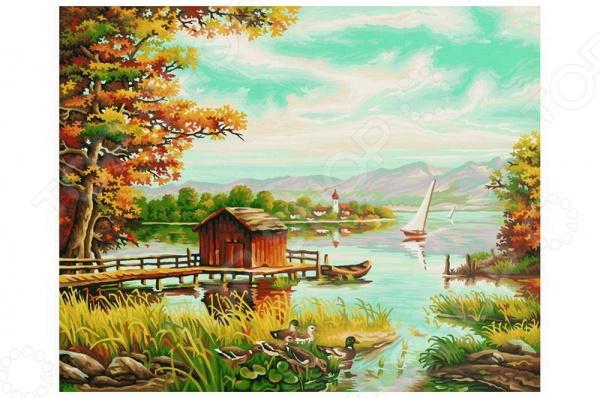 Набор для рисования по номерам Schipper «На берегу озера»Наборы для рисования по номерам<br>Набор для рисования по номерам Schipper На берегу озера это отличная раскраска, которая точно понравится любителям заниматься изобразительным искусством. Живопись по числам становится очень популярной, ведь картин огромное множество и вы можете подобрать именно то, что хочется вам. В процессе рисования человек открывает душу, чувствует связь с миром и со своей глубинной сущностью. Процесс рисования представляет собой процесс создания фантастического мира, в котором все будет идеальным. Во время раскрашивания ребенок развивает мелкую моторику пальцев, фантазию и усидчивость. Но, такая картина может стать прекрасным подарком и для взрослого человека, ведь рисование так успокаивает после трудового дня. Размер картины: 40х50 см.<br>