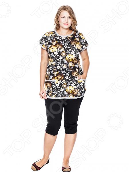 Костюм с бриджами «Ночная роза»Костюмы<br>Костюм с бриджами Ночная роза создан с учетом всех особенностей женской фигуры, чтобы вы могли всегда оставаться неотразимой. Благодаря продуманному дизайну костюм идеально подойдет женщинам с любым типом фигуры и любого возраста. Костюм состоит из кофточки и брюк капри , которые можно носить комплектом или по отдельности. Костюм сшит из ткани, состоящей на 100 из хлопка. Материал хорошо пропускает воздух и не задерживает влагу, не линяет, не скатывается, формы от стирки не теряет. Ткань отличается высокой устойчивостью к разрывам и истиранию. Комплект прекрасно подойдет для летних прогулок, занятий спортом, работы на даче.<br>