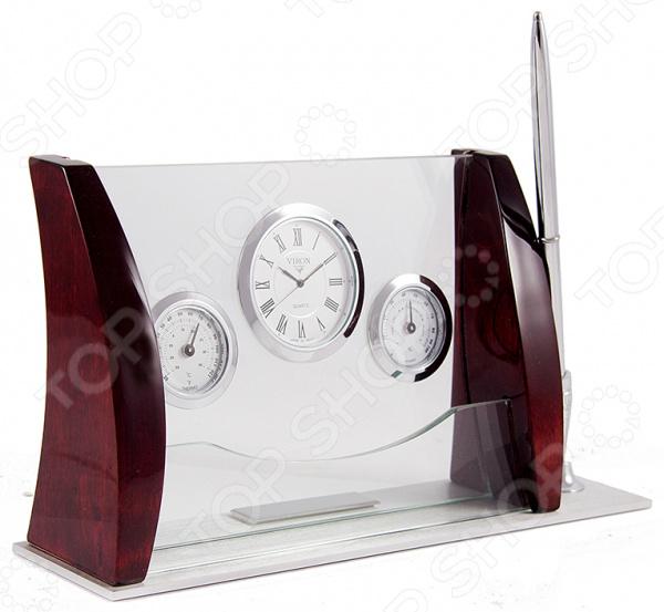 Набор сувенирный настольный Viron 28250Подарки для коллеги<br>Набор сувенирный настольный Viron 28250 это оригинальный и стильный аксессуар, который станет украшением интерьера вашего офиса. Представленную модель можно разместить на рабочем столе, полке с документами или окне, чтобы иметь возможность следить за временем или температурой в помещении. Классическая форма и универсальная цветовая гамма изделия, придадут любому помещению еще большей гармонии, эмоциональной наполненности и добавят нотку деловитости. Набор сувенирный настольный Viron 28250 является прекрасным подарком для ваших друзей или деловых партнеров. Правила ухода: регулярно вытирать пыль сухой, мягкой тканью.<br>