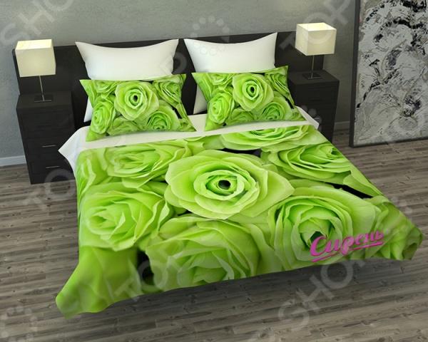 Покрывало Сирень «Зеленые розы»Покрывала<br>Покрывало Сирень Зеленые розы элемент, способный украсить и оживить интерьер любой комнаты. Дополните ваш диван или кровать этим покрывалом, и привычная мебель станет еще уютнее, чем раньше. При этом такое изделие может стать хорошим подарком близкому человеку. Оцените основные преимущества покрывала из коллекции бренда Сирень :  Оригинальный дизайн придаст изюминку интерьеру вашей гостиной или спальной комнаты.  Сделано из качественных износостойких материалов. Изображение на ткани долго не линяет и не выгорает.  Рисунок нанесен на материал при помощи специальной технологии, создающей эффект 3D. Смотрится очень эффектно. Покрывало выполнено из ткани габардин, состоящей на 100 из полиэстера. На поверхности полотна заметны диагональные рубчики, полученные в результате саржевого плетения в процессе производства. В результате изделие отличается своей прочностью и долговечностью, сохраняет первоначальный вид в течение длительного времени. Рекомендуется ручная стирка при температуре 30 C или в стиральной машине в деликатном режиме.<br>