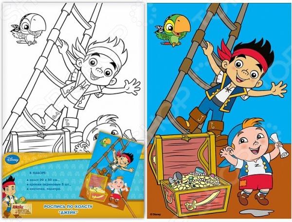 Набор для росписи по холсту Росмэн Джейк. Пираты Нетландии - великолепный набор для детского творчества, который идеально подойдет для творческого и художественного развития вашего малыша. С его помощью он сможет почувствовать себя настоящим живописцем или художником, который творит свои шедевры на настоящем холсте. Игра с таким набором способствует гармоничному развитию цветового восприятия, творческого мышления, зрительной памяти, мелкой моторики рук и координации движения. Готовый рисунок можно подарить в качестве оригинального сувенира своим родным или использовать в качестве забавного декоративного элемента вашего интерьера. В набор для росписи по холсту Росмэн Джейк. Пираты Нетландии входит плотный и отбеленный холст размером 20х30 см, который уже предварительного загрунтован и натянут на рамку. Грунт позволяет краске легко и равномерно ложиться на поверхность ткани. На холст уже нанесен контур забавного рисунка маленьких пиратов, поэтому малышу нужно будет только заполнить необходимые поля. В набор также входят акриловые краски в небольших металлических тубах, кисточка и палитра для смешивания цветов. Подарите вашу ребенку несколько часов увлекательной и занимательной игры с набором для росписи по холсту Росмэн Джейк. Пираты Нетландии !
