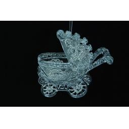 фото Елочное украшение Crystal Deco «Коляска». Цвет: серебристый