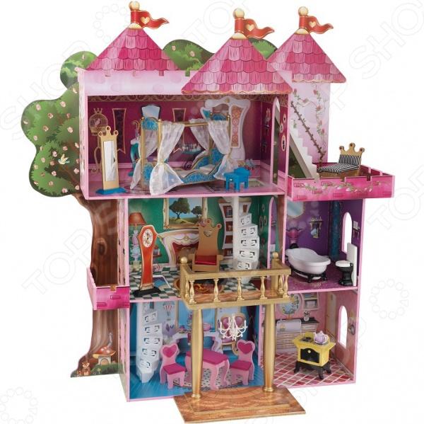 Кукольный дом с аксессуарами KidKraft «Книга Сказок». В ассортиментеКукольные домики. Мебель<br>Товар продается в ассортименте. Вид стульев при комплектации заказа зависит от наличия товарного ассортимента на складе. Кукольный домик заветная мечта каждой девочки Не секрет, что каждая девочка мечтает о своем кукольном домике. В списке детских подарков эта игрушка числится одной из самых желанных, заветных и востребованных. Почему спросите вы. Думаем, ответ очевиден: кукольный домик это не просто игрушка, это целая игровая площадка! Кукольный дом с аксессуарами KidKraft Книга Сказок станет чудесным подарком для вашей маленькой принцессы. Теперь игры с любимыми куклами будут еще интересней и увлекательней! Что немаловажно, они станут и более приближены к реальной жизни, ведь не секрет, что дети склонны во всем подражать взрослым. В процессе таких игр малыши не только учатся выстраивать отношения с окружающими, но и примеряют на себя различные социальные роли.  Замок для настоящих принцесс Кукольный замок выполнен из натурального дерева и предназначен для кукол размером не более 30 см Барби, Винкс, Эфер Афтер Най и др. . Он имеет частично открытую конструкцию и насчитывает целых три этажа:  1 этаж кухня и столовая.  2 этаж ванная и тронный зал с балконом.  3 этаж королевская спальня с балконом.  Помимо этого, также предусмотрен и передвижной золотистый балкон, который при желании можно убрать. Каждая комната имеет свой неповторимый дизайн и отличается великолепной проработкой деталей. Достигается это, благодаря художественному украшению стен и наличию большого количества разнообразных аксессуаров:  Кухня кухонная плита с чайником  Столовая обеденный столик и два стульчика в виде сердечек.  Тронный зал королевский трон, люстра и напольные часы.  Ванная комната ванна и унитаз.  Спальня кровать с балдахином, прикроватная тумбочка и напольное зеркало.  Балкон софа.  Особенности и преимущества модели  Каркас из натурального дерева.  Использование стойких нетоксичных красок. 