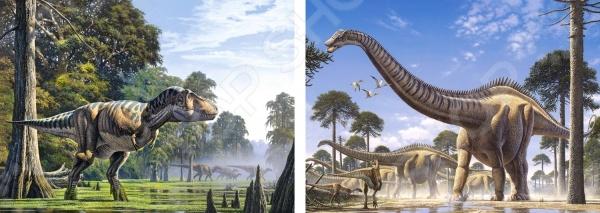 Набор пазлов 2 в 1 Castorland «Динозавры»Другие виды пазлов<br>Набор пазлов 2 в 1 Castorland Динозавры - яркий пазл, с реалистичными изображениями динозавров. Такая головоломка позволит приятно провести время как взрослому, так и ребенку, с пользой для себя. Пазл развивает логическое мышление и моторику рук. Также готовый пазл можно будет разместить в качестве декоративной картины в любой комнате. Необычный дизайн подойдет под любой интерьер и добавит в него своеобразную изюминку.<br>