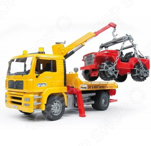 Эвакуатор игрушечный Bruder с портативным краном и внедорожником MAN машины bruder лесовоз scania с портативным краном и брёвнами