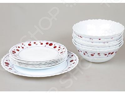 Набор столовой посуды Rosenberg 1214-496Суповые тарелки<br>Набор столовой посуды Rosenberg 1214-496 функциональный набор посуды, выполненный из качественного материала. Имеет яркий узор в виде красных кружочков по краю блюд. Край блюд имеет волнистую форму, которая напоминает форму цветка. В набор входят суповые, плоские тарелки и одно плоское блюдо. Идеальный набор для повседневного использования. Также такой набор прекрасно дополнит праздничную сервировку стола и порадует своей практичностью и свежестью дизайна. Оригинальный набор станет практичным и полезным подарком для близкого человека.<br>