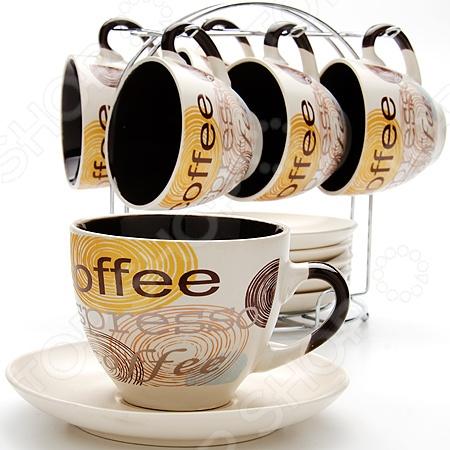 Сервиз кофейный Loraine LR-23536Чайные и кофейные наборы<br>Сервиз кофейный Loraine LR-23536 состоит из шести керамических чашек, шести блюдец и металлической подставки для них. Великолепная износоустойчивость и стильный современный дизайн в сочетании с удобством использования сделают этот набор отличным дополнением любой кухни.<br>