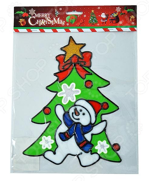 Новогодняя наклейка на стекло Crystal Deco «Елочка с снеговиком»