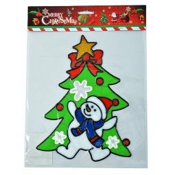 фото Новогодняя наклейка на стекло Crystal Deco «Елочка с снеговиком»