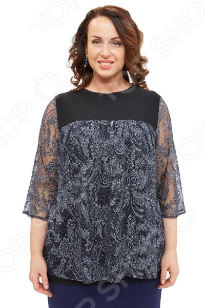 Блуза Элеганс «Французский шарм»Блузы. Рубашки<br>Блуза Элеганс Французский шарм незаменимая вещь в гардеробе модницы. Создана для женщин практически любой комплекции, ведь особенности кроя помогают скрыть недостатки и подчеркнуть достоинства фигуры. Эта блуза отлично подойдет для повседневного использования, она хорошо сочетается с юбками и брюками.  Элегантная блуза свободного кроя. Особого внимания заслуживает оригинальное сочетание тканей это не только элемент стиля, но и классический эффективный прием, помогающий визуально добиться гармоничных пропорций тела.  Основа блузы выполнена из трикотажа, а верх и рукава из сетчатой ткани с люрексом.  Швы обработаны текстурированными эластичными нитями, поэтому не натирают кожу.  На фотографии блуза представлена в сочетании с юбкой Венера . Блуза сшита из приятной ткани, состоящей на 97 из полиэстера и на 3 из эластана. Материал не линяет, не скатывается, формы от стирки не теряет.<br>