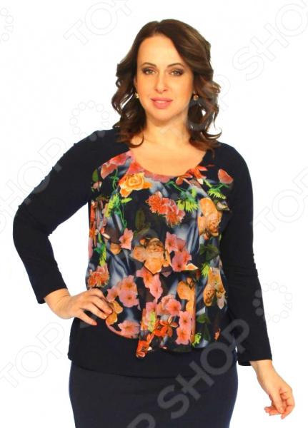 Блуза Элеганс «Дария»Блузы. Рубашки<br>Блуза Элеганс Дария незаменимая вещь в гардеробе модницы. Подойдет для женщин практически любой комплекции, ведь особенности кроя помогают скрыть недостатки и подчеркнуть достоинства фигуры. Эта блуза отлично подойдет для повседневного использования.  Элегантная блуза привлечет внимание окружающих своей нежной изысканностью.  Цветочный узор выполняет не только декоративную функцию. Это классический и эффективный прием, помогающий добиться гармоничных пропорций тела.  Удобные трикотажные рукава подходят для женщин с любой полнотой рук.  Круглый вырез горловины придаст блузе изюминку, визуально удлинит шею и подчеркнет плавность черт.  Швы обработаны текстурированными эластичными нитями, поэтому не тянутся и не натирают кожу. Блуза изготовлена из приятного трикотажа, состоящего на 95 из полиэстера и на 5 из эластана. Благодаря этому материал не скатывается и не линяет после стирки, при этом быстро высыхает и практически не мнется. Рукава и передняя полочка сделаны из шифона.<br>