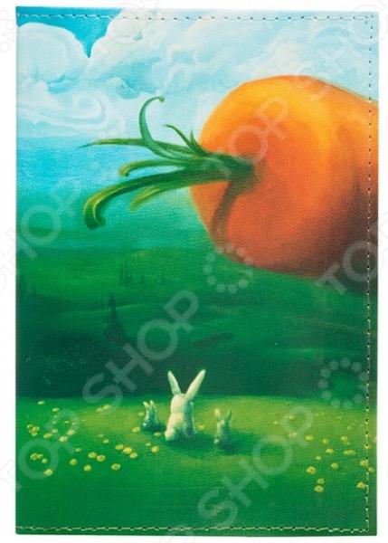 Обложка для автодокументов кожаная Mitya Veselkov «Заяц и морковка»Обложки для автодокументов<br>Обложка для автодокументов кожаная Mitya Veselkov Заяц и морковка это оригинальная обложка, которая поможет не только сохранить первоначальный вид документов, но и отметит ваш необычный стиль. Обложка достаточно большая 13,8 см х 9,5 см , она подойдет для правовой вкладки, документов на машину и доверенности. Яркий рисунок долгое время будет радовать вас своими красками, а натуральная кожа не протирается и не рвется. Использование натуральной кожи обеспечивает длительный срок эксплуатации аксессуара. Этот материал устойчив к внешним воздействиям, стойко переносит различные погодные условия. Все швы и соединительные элементы выполнены качественно и надежно. Вы можете использоваться обложку для хранения любых документов подходящего размера. Такая обложка может стать удачным подарком для любого автовладельца!<br>