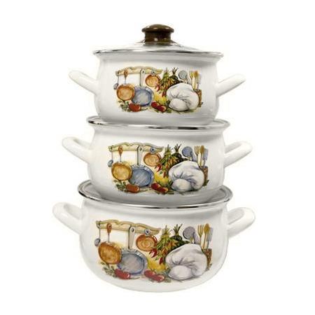 Купить Набор эмалированной посуды «Семейная традиция». Рисунок: кухня