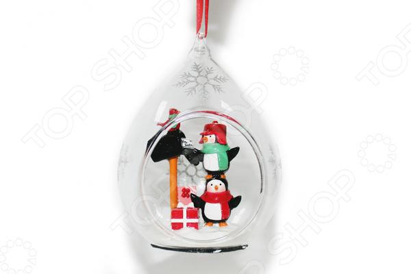 Елочное украшение со светодиодами Елочное украшение Crystal Deco «Письмо Санте от Пингвинов»