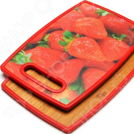 Доска разделочная двухсторонняя Mayer&amp;amp;Boch MB-24157-5Разделочные коврики и доски<br>Доска разделочная двухсторонняя Mayer Boch MB-24157-5 станет отличным дополнением к набору кухонной утвари и прекрасно подойдет для нарезания и разделывания продуктов. Одна из ее сторон выполнена из бамбука, а другая из пищевого пластика. Бамбук широко используется в производстве разделочных досок, благодаря своей износостойкости, прочности и антибактериальным свойствам. Доска снабжена прорезной ручкой и декорирована оригинальным ярким рисунком. Торговая марка Mayer Boch это синоним первоклассного качества и стильного современного дизайна. Компания занимается производством и продажей кухонных инструментов, аксессуаров, посуды и т.д. Функциональность, практичность и инновационные решения вот основные принципы торгового бренда Mayer Boch.<br>
