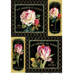 Купить Карта декупажная Кустарь «Розы и тюльпаны на черном фоне»