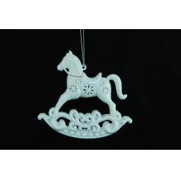 фото Елочное украшение Crystal Deco «Лошадка-каталка». Цвет: белый